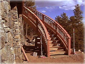 Curved redwood exterior stairs Click to enlarge