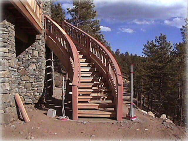 exterior stairs with large landing and custom rails. rear porch ...