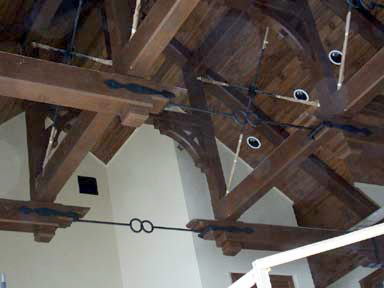 Custom timber trusses, with metal accents
