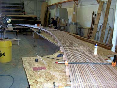 Curved truss in fabrication